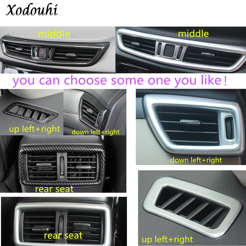 For Nissan X-Trail XTrail T32/Rogue 2017 2018 2019 Car garnish cover frame lamp trim air conditioning condition outlet Vent hood abs chrome door body side molding trim cover for nissan x trail x trial xtrail t32 2014 2015 2016 2017 car styling accessories