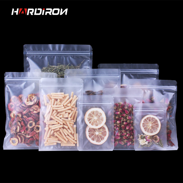 HARDIRON Food Zipper Bag Frosted Plastic Ziplock Pouch Flat Bottom Matte Translucent Zip Pouch Snack Fruit Tea Candy Sack