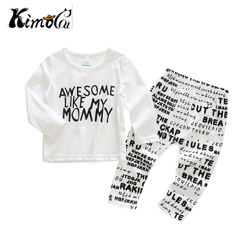 Kimocat baby boy and girl Spring and autumn long-sleeved white letters printed t-shirts + newspaper patterned pant sets