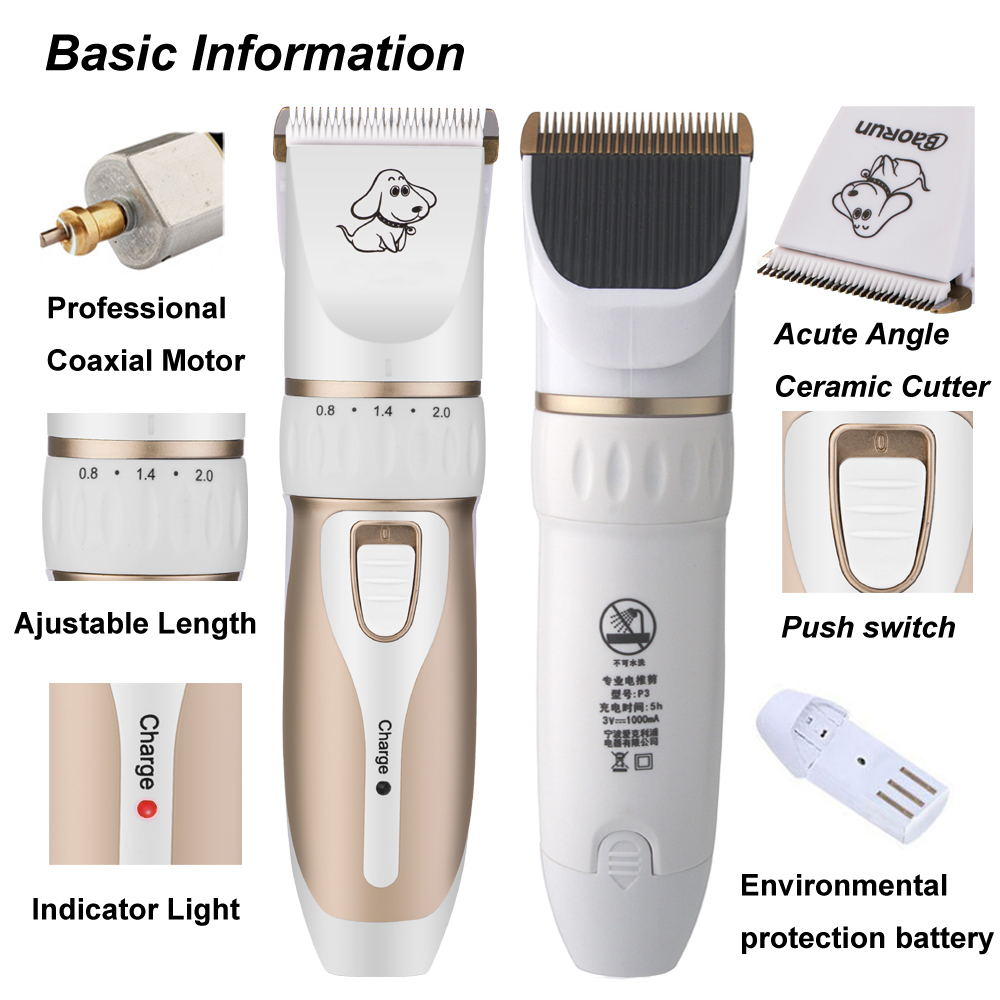 Rechargeable Low-noise Cat Dog Hair Trimmer Electrical Pet Hair Clipper Remover Cutter Grooming Pets Accessories Haircut 9