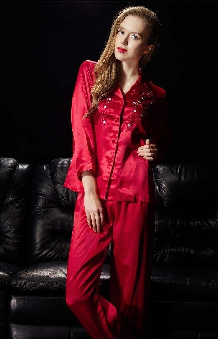 Womens Pajamas Set 100% Pure Silk Ladies Exquisite Embroidery Sleepwear Size M L  XL XXL