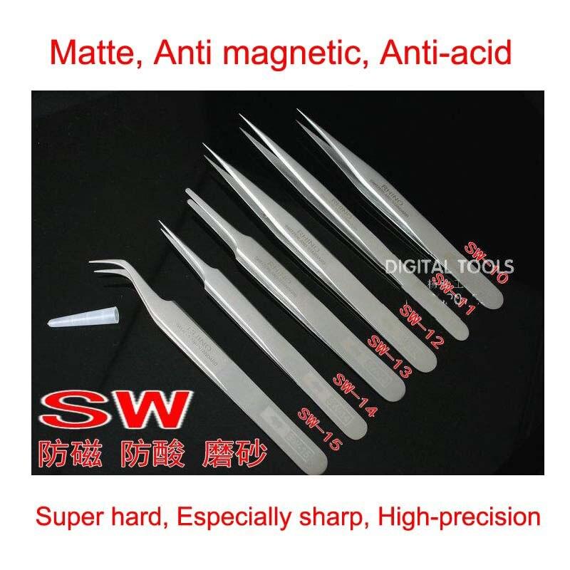 One set of 6 pcs RHINO SW Tweezers Switzerland Standard Scrub Anti magnetic Anti acid Superhard