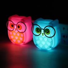 Cute Owl Shaped Plug-Typed Plastic LED Nightlight