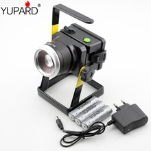 YUPARD XM-L T6 LED powerful flood light spotlight Searchlight long Range camping flashlight +18650 rechargeable battery+charger