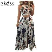 ZKESS 2 Pcs Set Trendy Floral Print Tank CropTop Split Maxi Skirt Set 2017 Women Suits