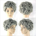 Hot Sale Old Women Cosplay Short Curly Wigs Synthetic Hair Gray Curly Short Wigs Heat Resistant Full Hair