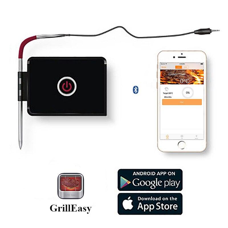 Thermomètre à gril Bluetooth contrôlé par App accessoires de cuisine BBQ outils de cuisson en plein air thermomètre à viande avec capteur