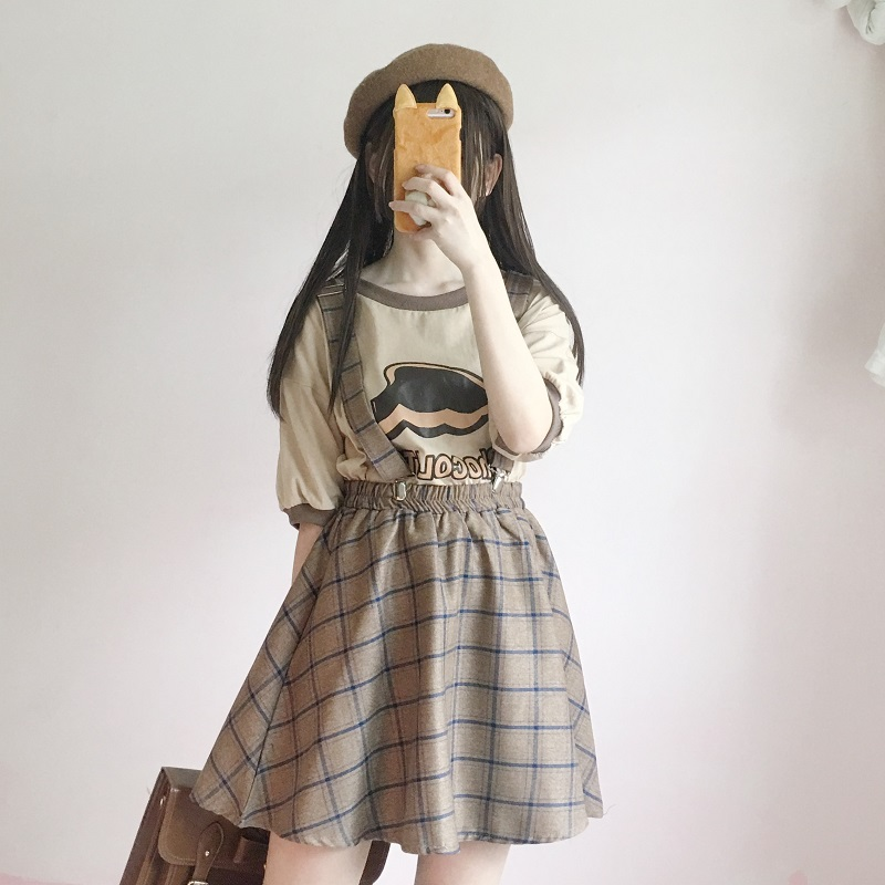 Japanese Style Vintage Plaid Suspender Skirts Harajuku Sweet High Waist Clip Strap Skirts Women A-line Casual Girls Mini Skirt