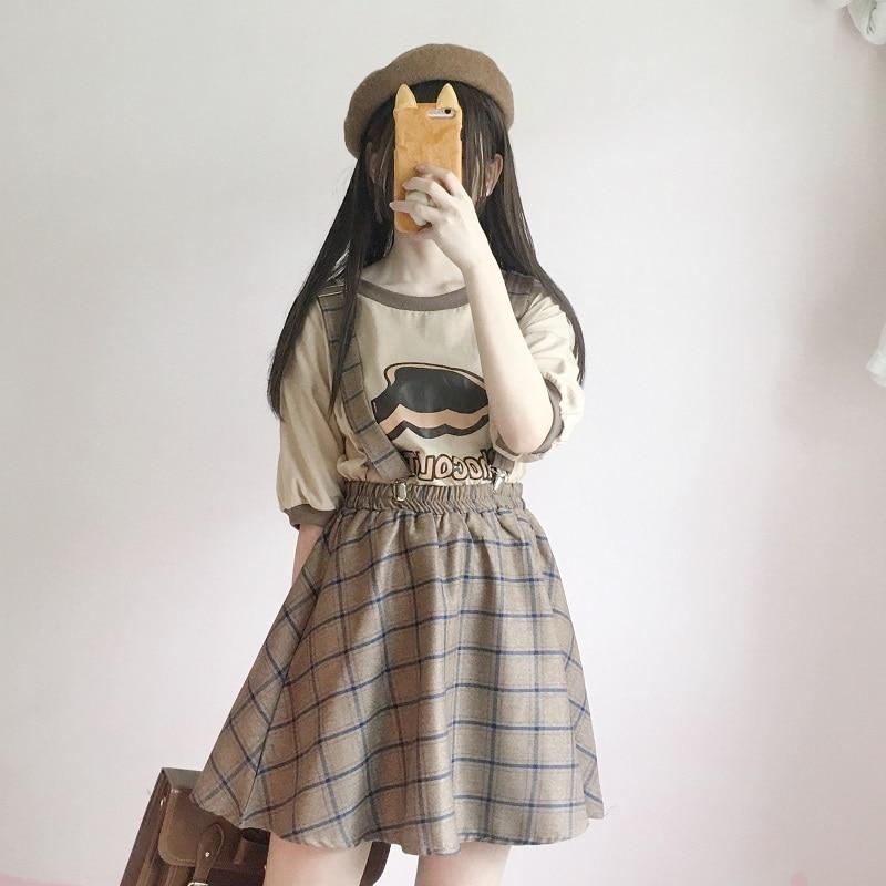 fbfa794ae Estilo japonés Vintage Plaid suspensor faldas Harajuku dulce alta cintura  Clip Correa faldas mujeres A-line Casual niñas Mini falda