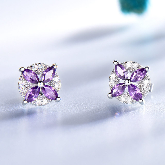 UMCHO Solid 925 Sterling Silver Flower Stud Earrings For Women Created Amethyst Gemstone Jewelry Silver Earrings Christmas Gift
