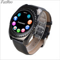 Bluetooth Smart Watch SIM/TF Card for IOS Android Phone with Camera Pedometer Sport Wristwatch Leather