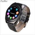 Bluetooth smart watch sim/tf tarjeta para ios android teléfono con cámara podómetro reloj deportivo de cuero