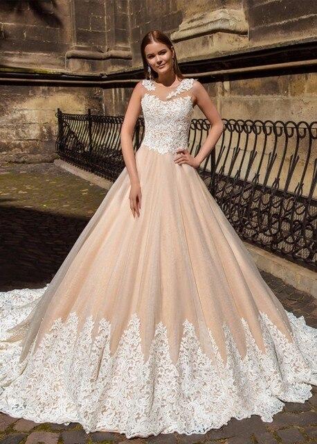 Elegante Champagner Farbe Hochzeitskleid 2018 Spitze Appliqued ...