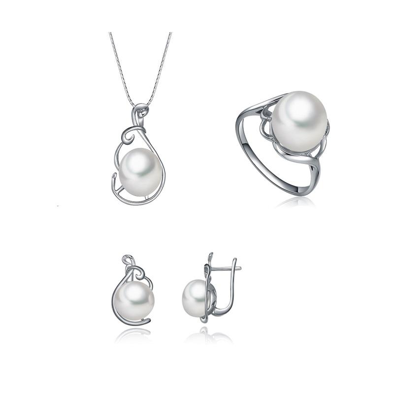 Sinya ensemble de bijoux 925 en argent sterling perle anneau boucle d'oreille collier bijoux fins ensemble platine plaqué offre spéciale pour les femmes