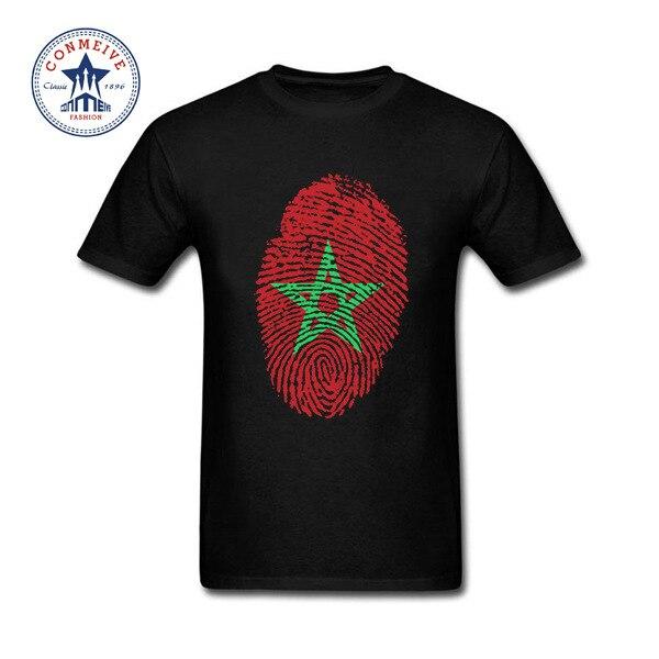 Hot Selling Funny Morocco Flag Fingerprint Cotton t shirt for men