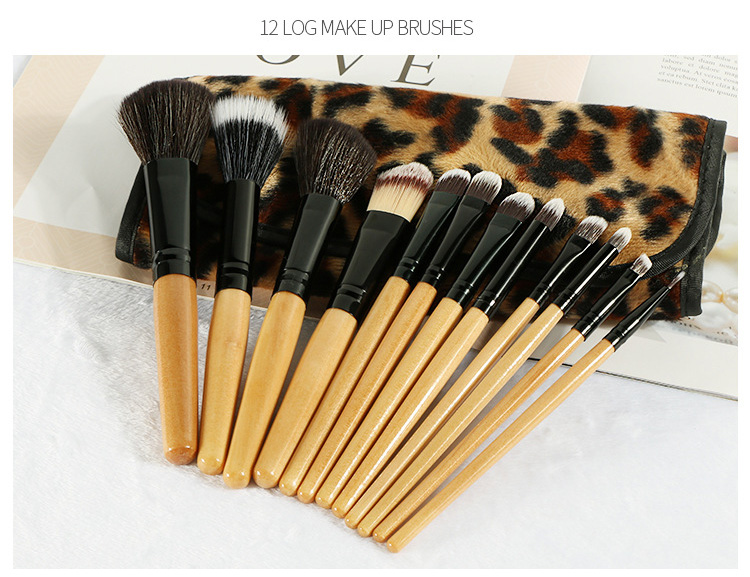 MODOAO 12pcs Professional Makeup Brush Cosmetic Facial Make Up Set Tools With Leopard Bag Makeup Brush Tools Kits Makeuo Brush