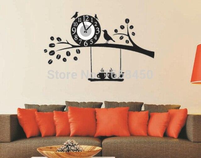 Lovely Black Bird Nest Home Decor Wall Clock Wall Decal Sticker Real Clock 73*50CM