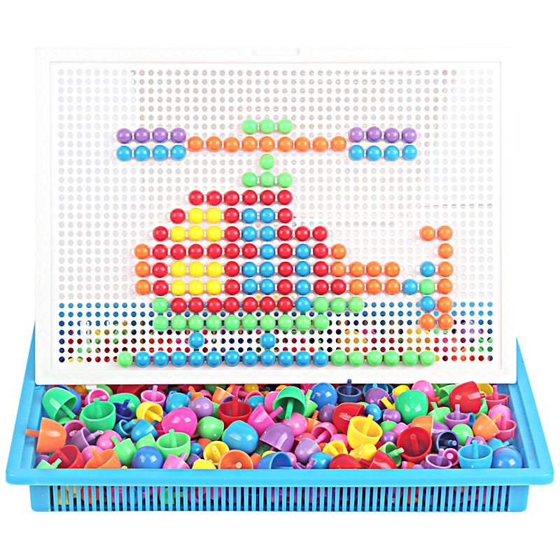 все цены на 296 Pcs Mushroom Nail Puzzle Toys 3D Puzzle Toy Children Intellectual Educational Toys
