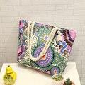 Geometric printing joker shopping bag The large capacity canvas shoulder bag Fashion Bohemian style leisure and travel bag