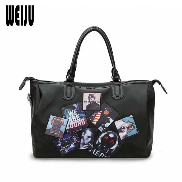 1e0fbb05095 WEIJU Waterproof Nylon Travel Bag Women Badge Men Travel Bags Casual  Luggage Duffle Bag Black Handbag