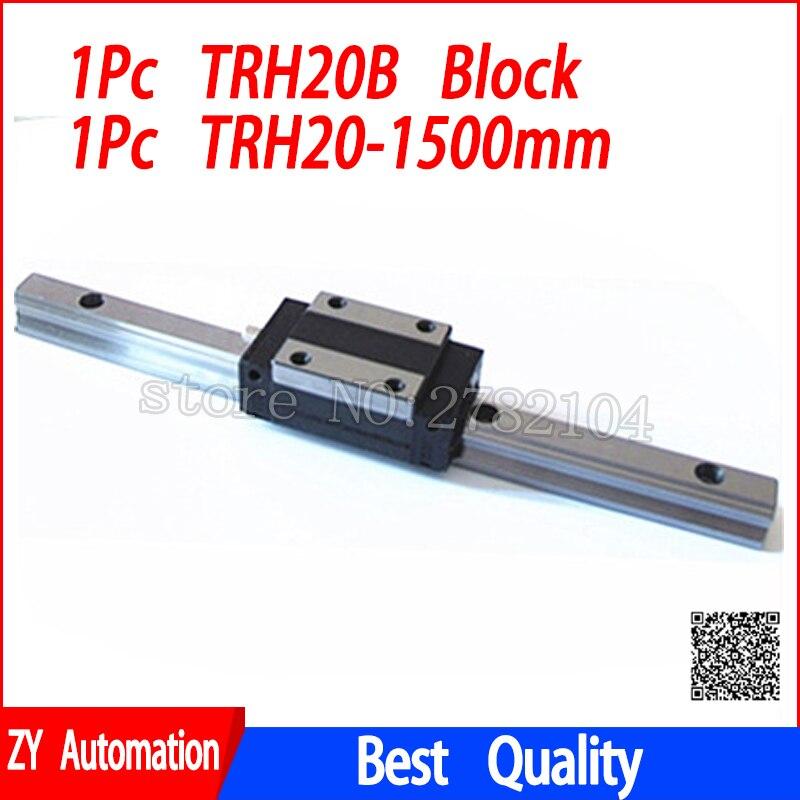 Nuova guida di guida lineare TRH20 1500mm di lunghezza con 1 pz blocco di trasporto lineare TRH20B o TRH20A parti CNCNuova guida di guida lineare TRH20 1500mm di lunghezza con 1 pz blocco di trasporto lineare TRH20B o TRH20A parti CNC