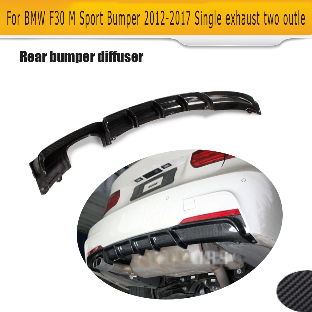 Carbon Fiber Car Rear Bumper lip spoiler Diffuser for BMW 3 Series F30 M Sport Bumper 12-17 Single exhaust two outle epr car styling for nissan skyline r33 gtr type 2 carbon fiber hood bonnet lip