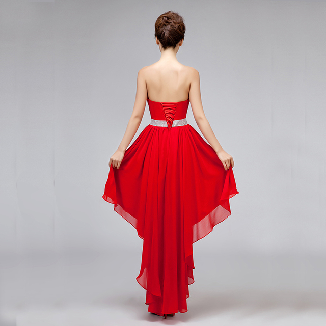 Prom Dresses Party Dongcmy New 2021 Lace Plus Size Strapless Chiffon Asymmetrical Backless 2