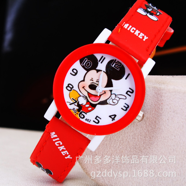 New 2016 fashion cool mickey cartoon watch for children girls Leather digital watches for kids boys Christmas gift wristwatch 1