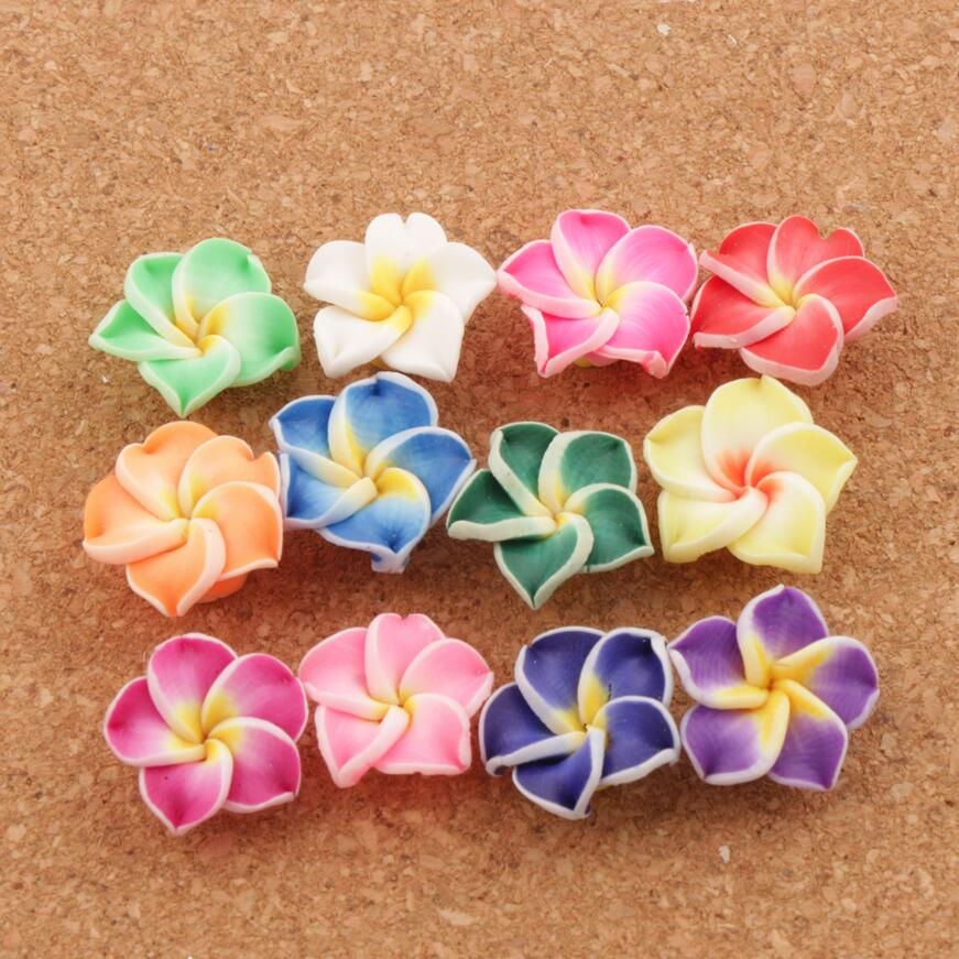 Colorful Clay Fimo Plumeria Egg Flower Beads Spacers Lily Flowers Jewelry Findings L3000 <font><b>15x15mm</b></font> 30pcs/lot image