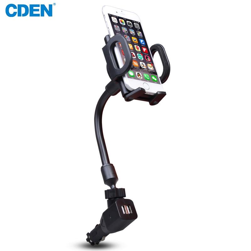 CDEN Universal Car Bracket Dual USB Charger Car Mount Holder 360 Rotable Adjustable Car Phone Holder