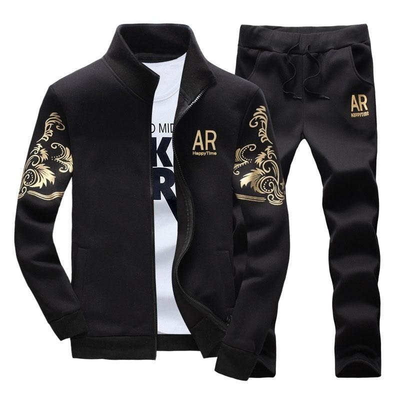 Tracksuit For Men Sportwear Suit Fitness Brand CLothing Zipper Outwear 2PC Jacket+Pants Sets Male Tracksuit Moletom Masculino