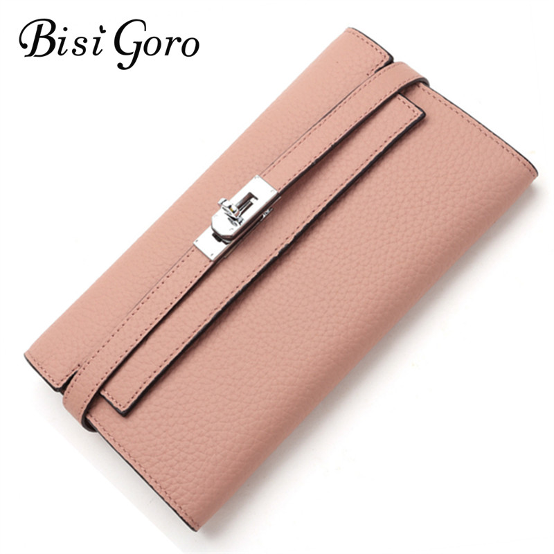 Bisi Goro 2019 Quality Cowhide Leather Long Women Wallets Metal Lock Clutch Purse Luxury Brand Party