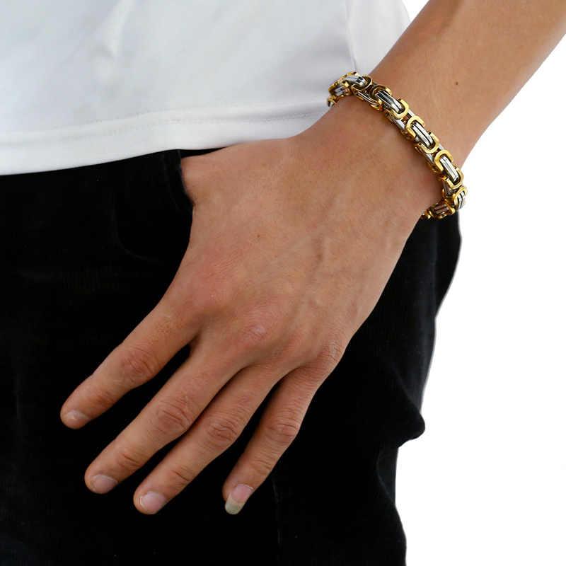 """4-7mm mężczyźni Box łańcuch naszyjnik bransoletka Hip Hop Rock styl ze stali nierdzewnej stali nierdzewnej bizantyjski łańcucha naszyjnik bransoletka biżuteria zestaw 22"""""""