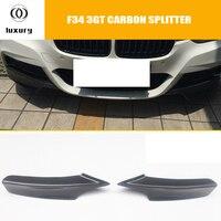 F34 углеродного волокна переднего бампера для губ сбоку Splitter фартук для BMW F34 320i GT 328i GT 335i GT 340i GT с м Paclage 2012 2018