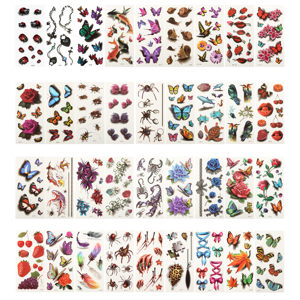 36 Простыни детские 3D Водонепроницаемый Временные татуировки для Для женщин девочек Средства ухода за кожей Книги по искусству рукавом DIY Наклейки блеск татуировки Красота экзотические