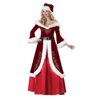 Women Christmas Dress Sexy Red Xmas Costumes Elegant Warm Velvet Robe Santa Claus Queen Uniform Dress