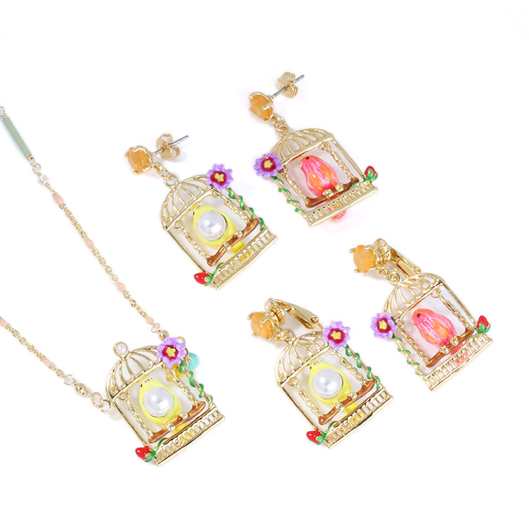 цена на Hot Sale Bird birdcage Canary Women Earring Enamel glaze Gold Pleated Good Quality France Dyxytwe