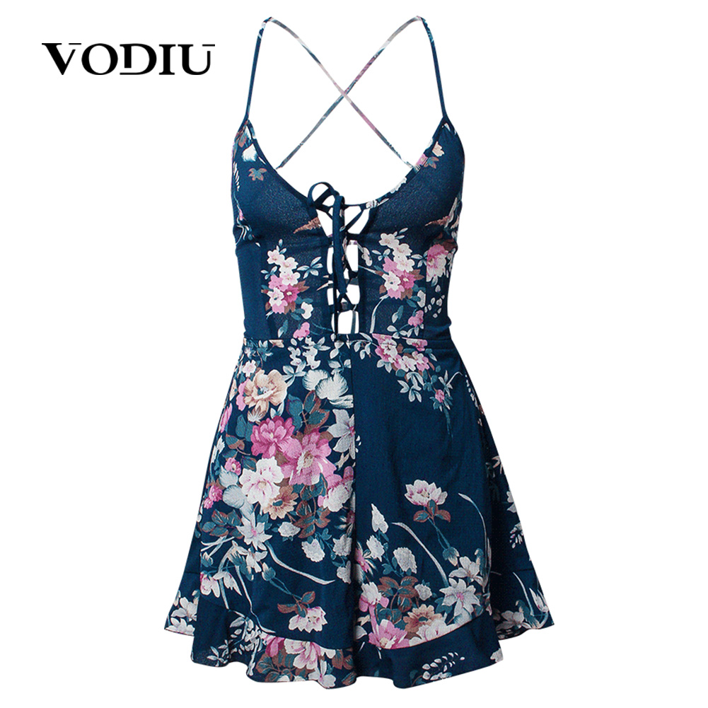 Women Jumpsuit Summer 2018 Female Casual Sexy Beach Rompers Sleeveless Flower Printing Loose Romper For Ladies Women Jumpsuit