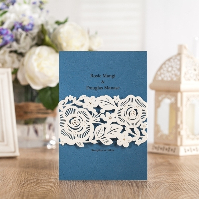 WISHMADE New Invitation Cards 50pcs Free Shipping Navy Blue For