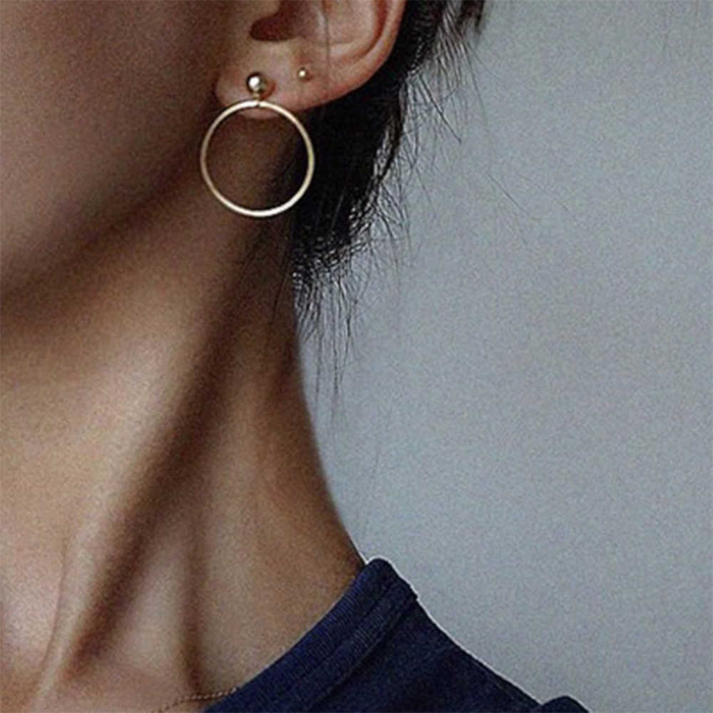 IPARAM New 2018 Fashion Jewelry Punk Style Gold & Sliver Colors Geometric Round Circle Drop Earrings Best Gift for Women Girl