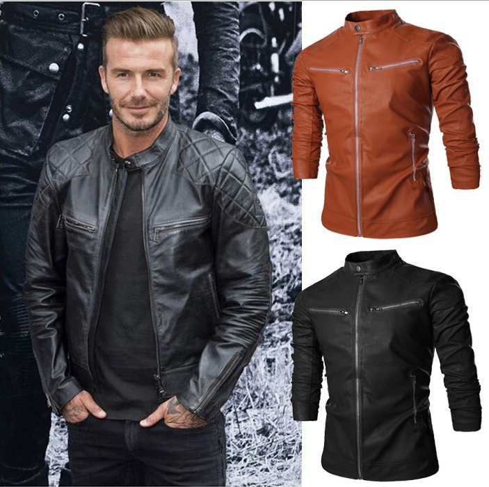 2015 New Men Spring Autumn Stand Collar Brown Leather Jacket Coat ...