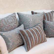 Avigers Luxury Blue Cushion Cover Jacquard Pillowcase Flower European Hot Home Decorative Sofa Seat Chair Bed Throw Pillow Cover цены