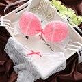 Conjunto de sutiã de renda sexy roupa interior feminina 3 breasted empurrar para cima calcinha sutiã de espessura ajustável 2015 novo estilo