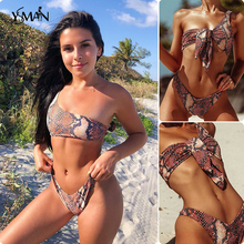 Yisiman Brazilian leopard bikinis 2019 mujer Sloping shoulder bikini Serpentine swimsuit women thong mini