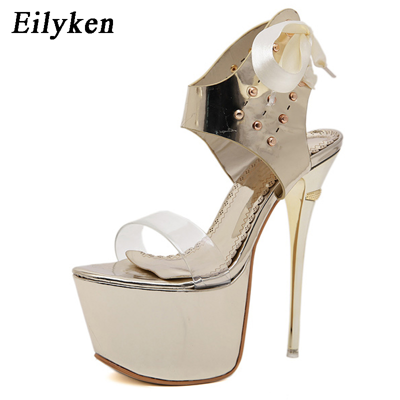 Eilyken Plus 35 40 Thin Heels Pumps Women Platform Shoes Party Club Open Poe Shoes Lace Up Sandals Stiletto Women Shoes