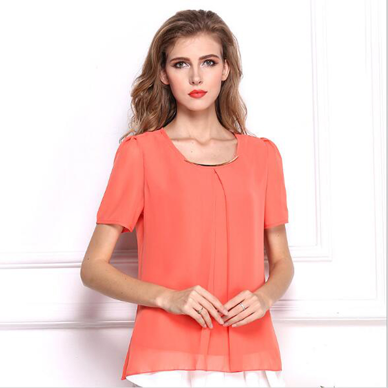 Brand Summer Women Tops And Blouses 2018 Ny Mode XXXL Plus Krave Casual Solid Blouse Camiseta Mujer Ti-farve