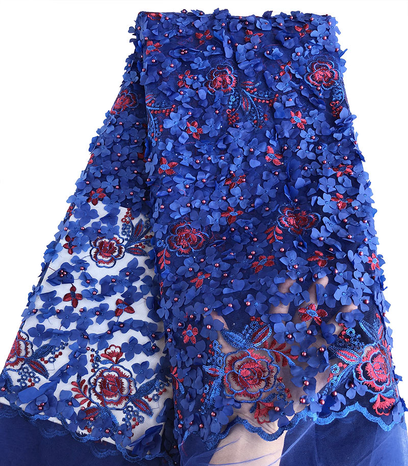 Navy blue Gold beaded french lace fabric classic African sewing tulle lace with Allover Appliques Sequins 5 yards wise choice