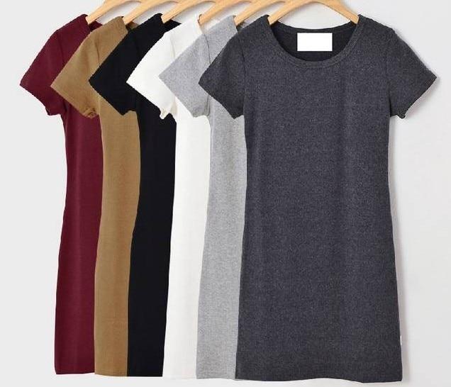 ea4086f17a02 Women Solid Brief Cotton T shirt Dress