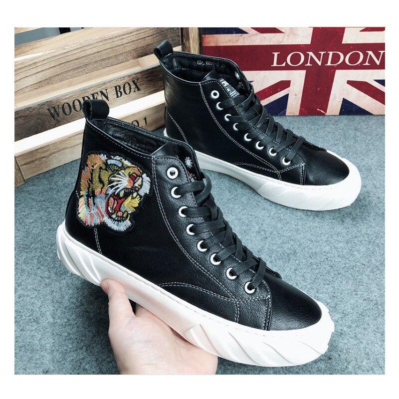 Web Tigre Hip Chaussures Mode Épais Sneakers 2019 Celebrity hop Fond Platfrom Noir Décontractées Pour Haute De Visage Loisirs blanc Brodé Hommes POkXw08n