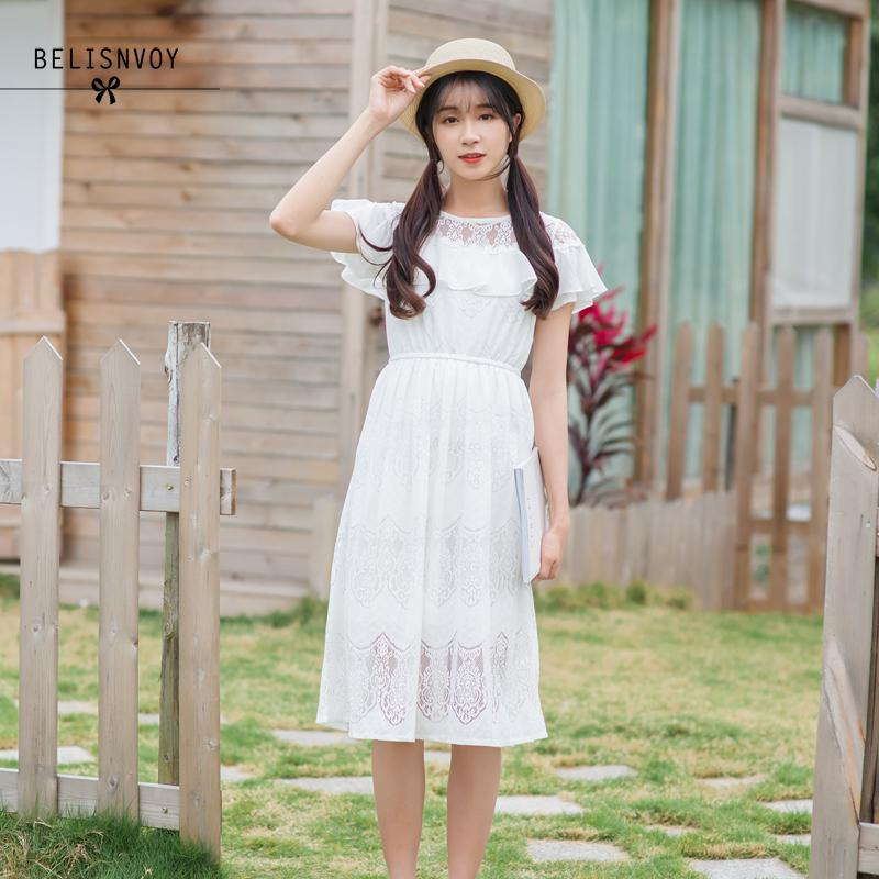 Summer Sweet Women Dresses Ruffled Collar Hollow Out Robe Femme Mori Girl Lace White Elegant Dress High Waist Party Vestidos